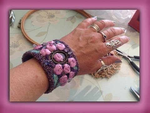 how to embroider a silk ribbon spider rose bracelet cuff
