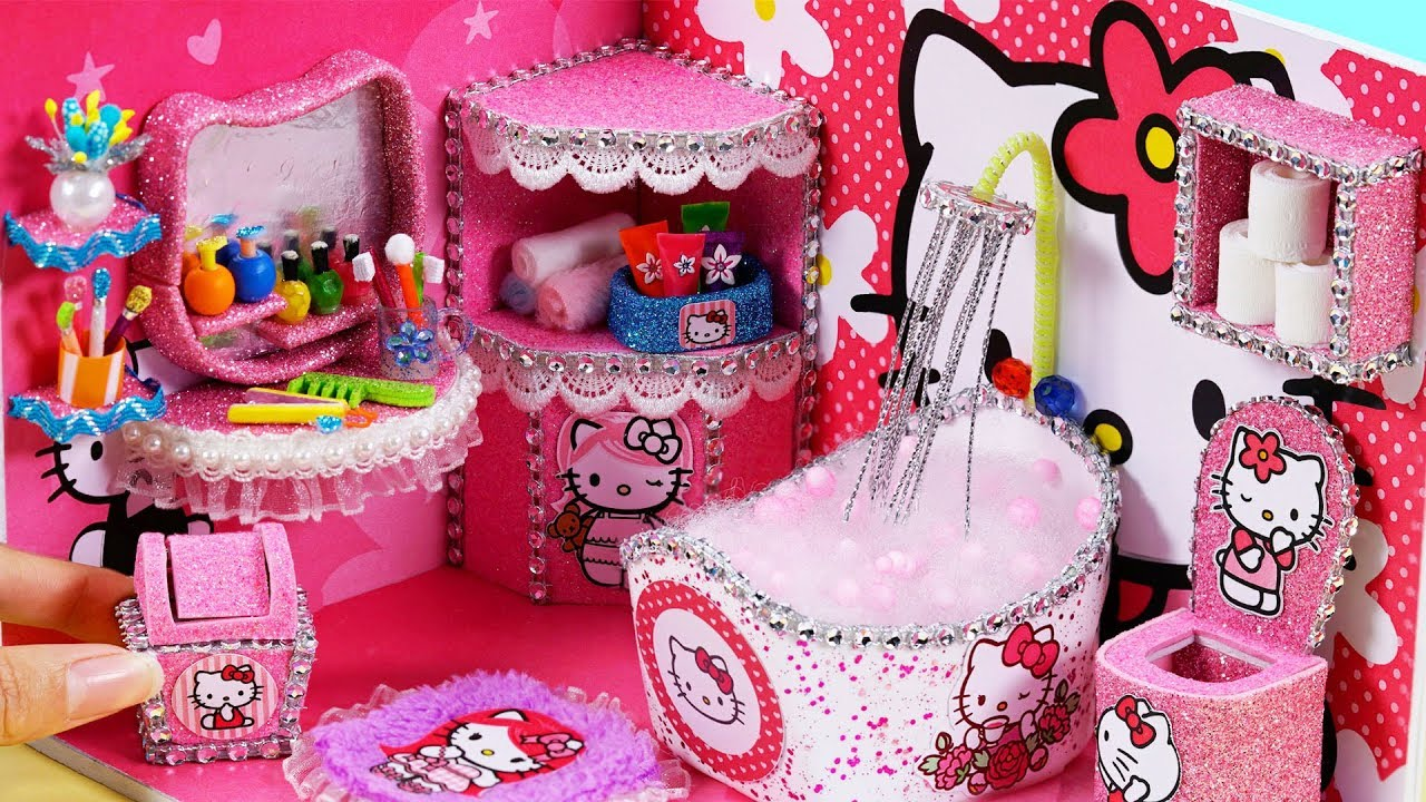 Diy miniature dollhouse bathroom hello kitty room decor - Decoration hello kitty chambre bebe ...