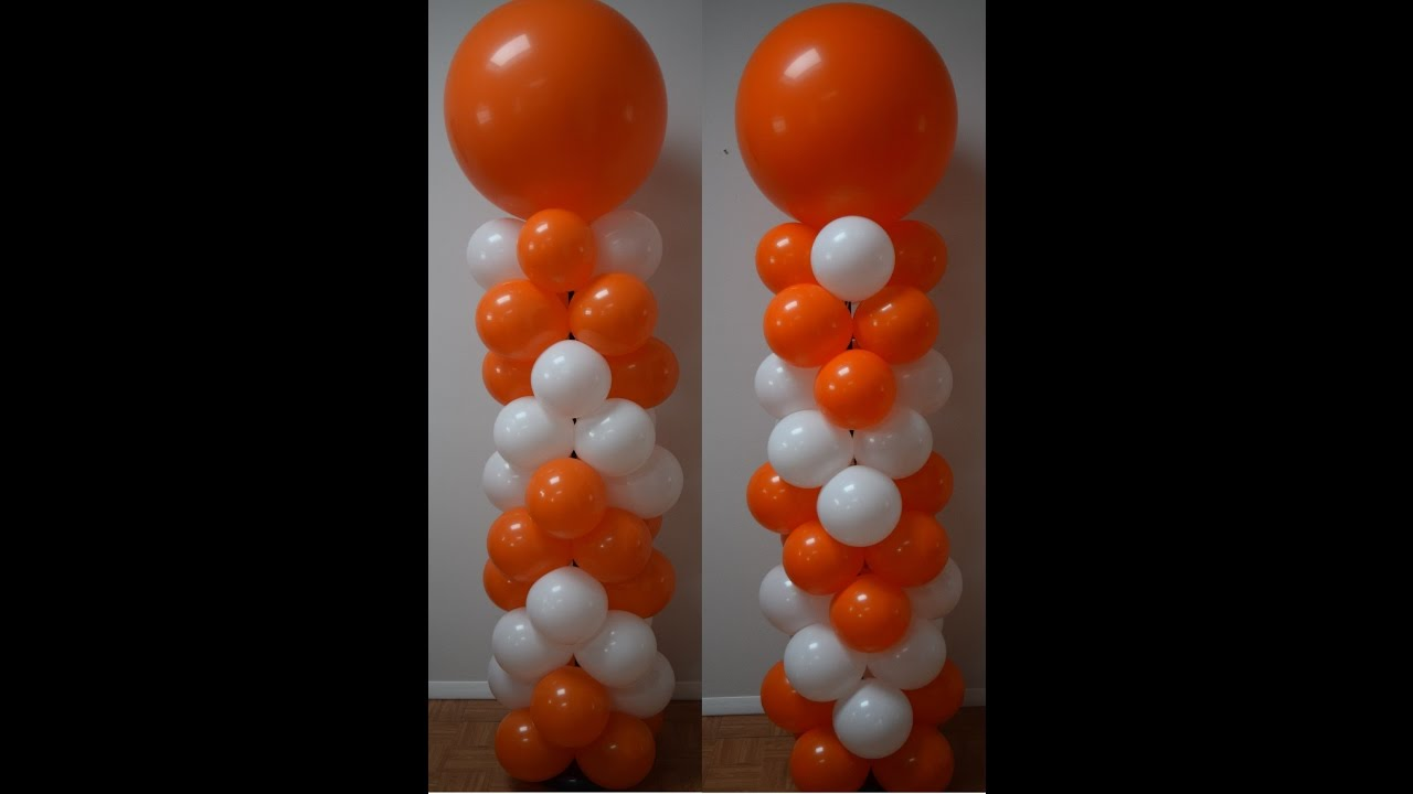 How to make a balloon column for balloon decorations for Balloon decoration ideas youtube