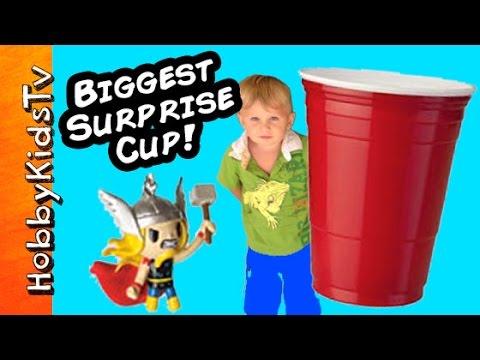 Worlds BIGGEST RED SOLO CUP! Toy Surprises, Water Pong, TNMT HobbyKidsTV