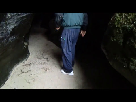 Rare view of secret MacAfee Clan Cave Colonsay Hebrides Scotland