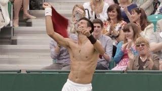 Novak Djokovic, Wimbledon Champion, and Grigor Dimitrov Do a Strip Tease Dance on the Court