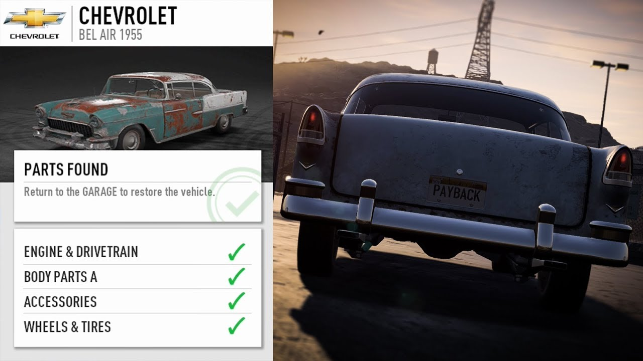 Need for Speed Payback DERELICT GUIDE: 1955 Chevrolet Bel Air - YouTube
