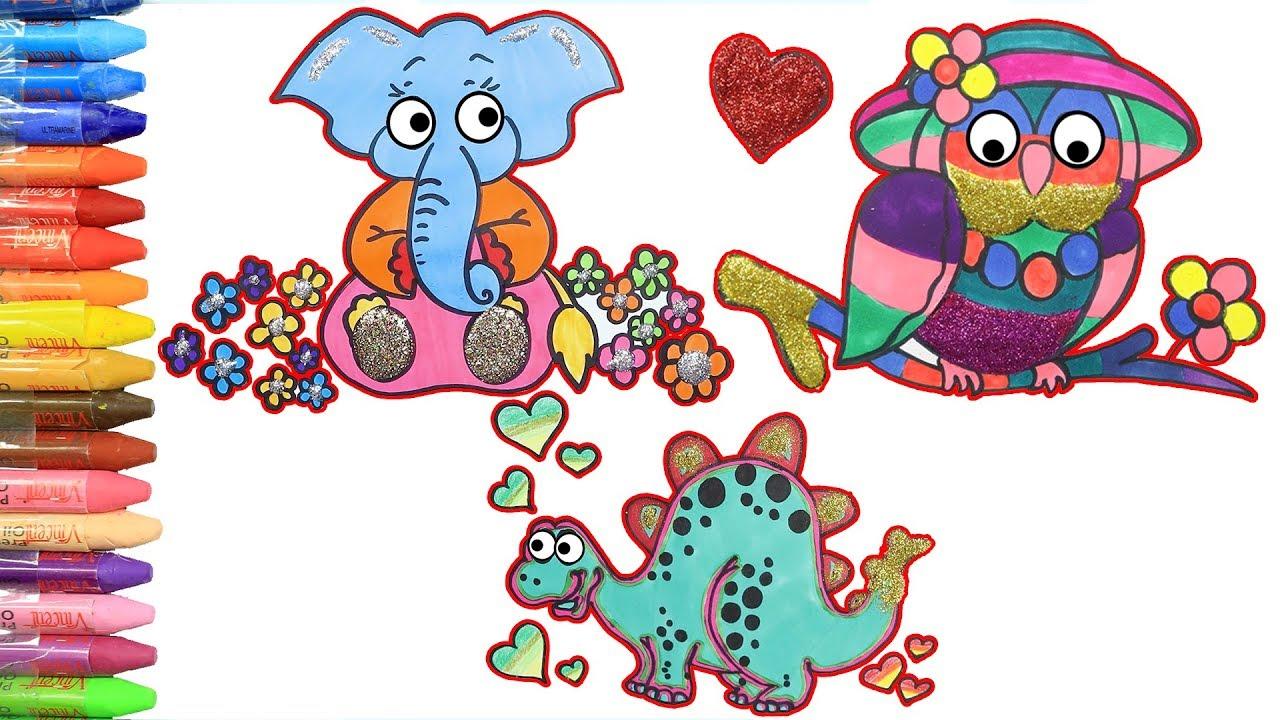 Fil Baykus Dinozor Ciz Ve Boya Renkleri Hayvanlari