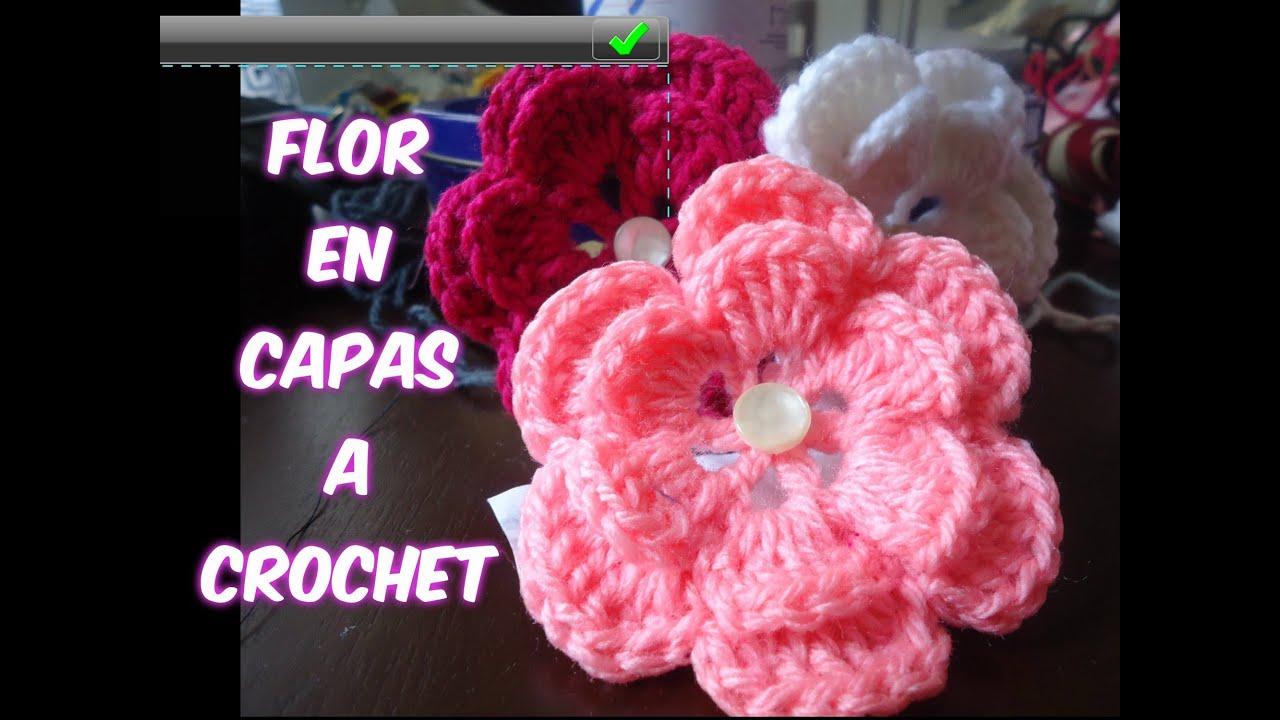 Tutorial flor de dos capas a crochet o ganchillo youtube - Como hacer flores de ganchillo ...