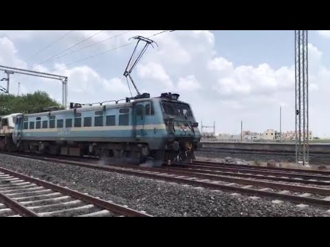 First Electric Goods Train(High rise pento- WAG-7) of Bhavnagar Division arrives at Botad Junction.