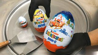 JUMBO kinder Surprise Egg - Ice Cream Rolls | Opening, unboxing and how to make Ice Cream | ASMR thumbnail
