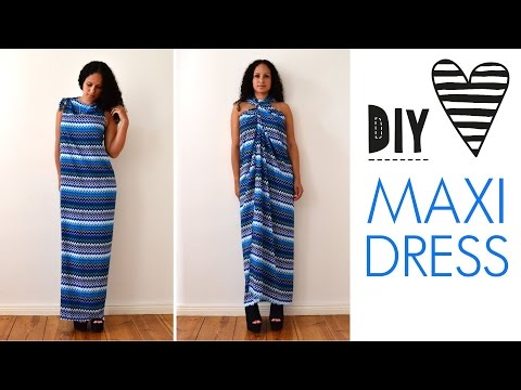 DIY no sew MAXI DRESS in 5 minutes | quick & easy | how to | tutorial
