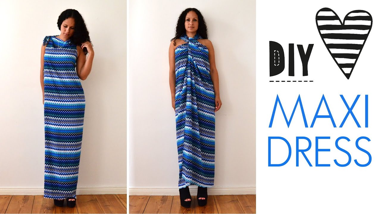 DIY no sew MAXI DRESS in 5 minutes | quick & easy | how to ...