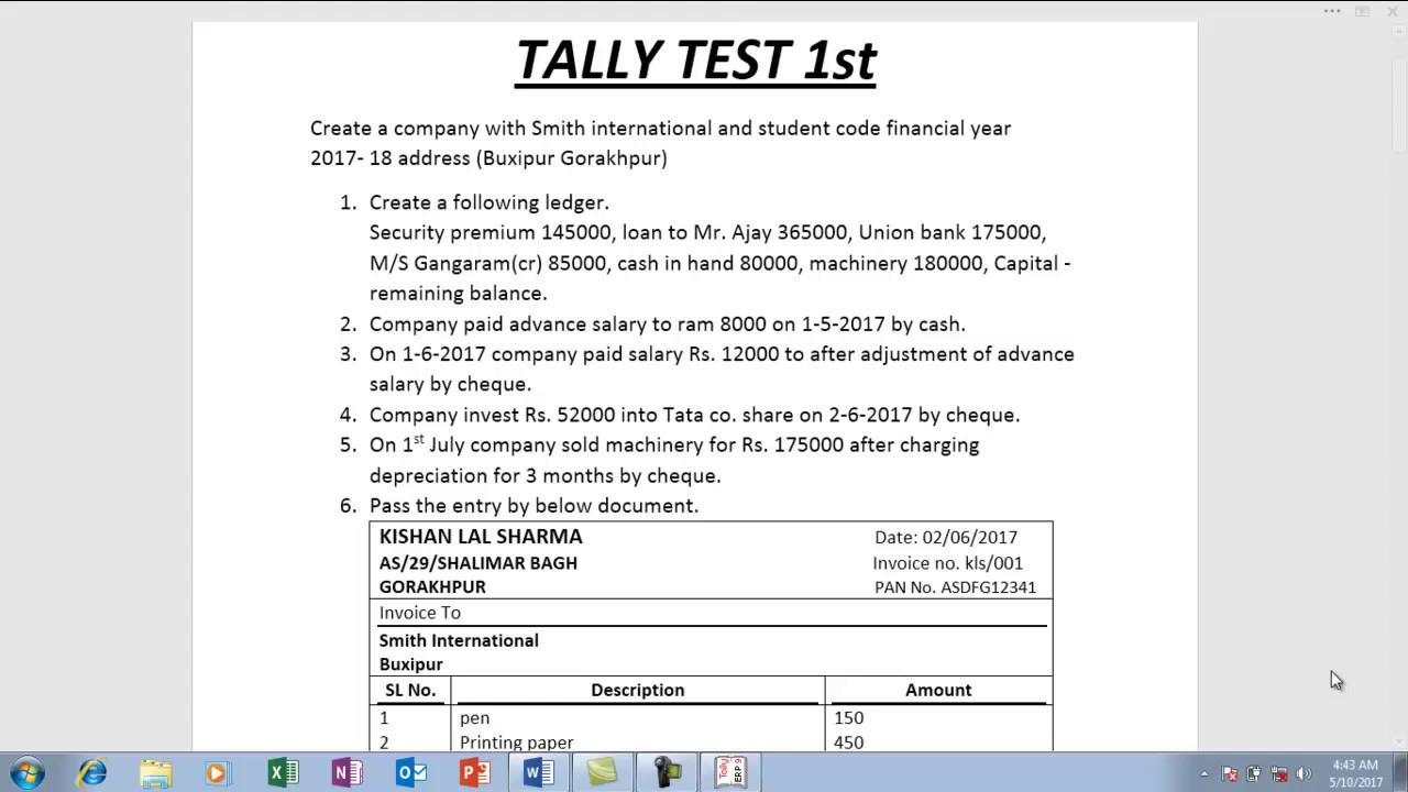 Tally final test 1