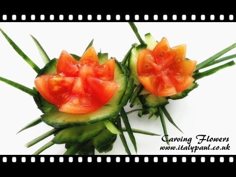 Vegetable Carving With Tomato Art In Cucumber...