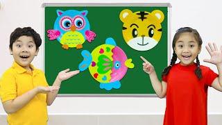 Annie and Sammy Pretend Play DIY Craft Animals with School Supplies| Easy Crafts for Kids