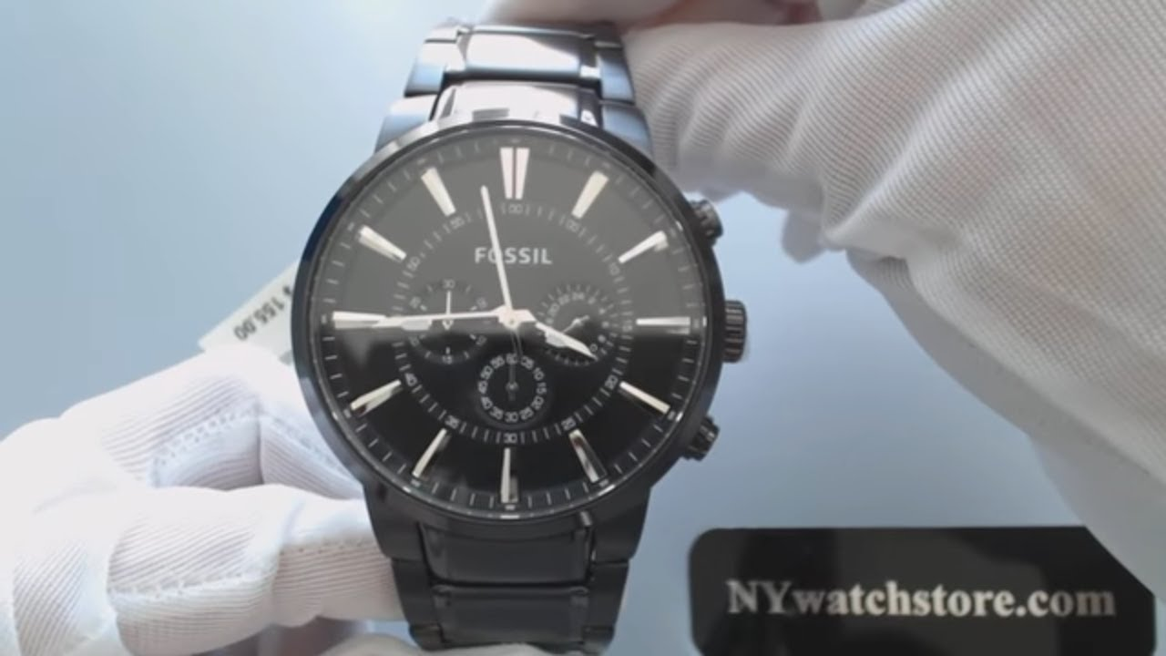 Mens Black Fossil Chronograph Steel Watch Fs4778 Youtube Fs4787