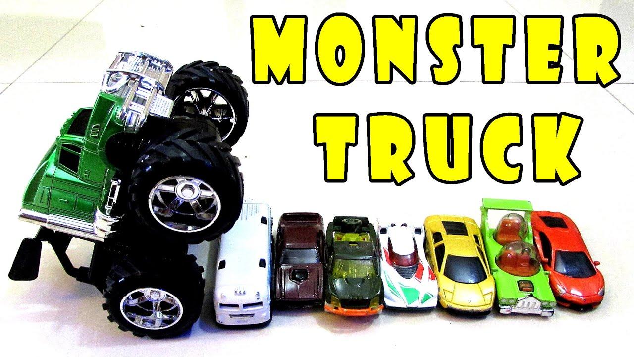 monster truck for children train engine crash hot wheels cars stunt spider man car kids toys