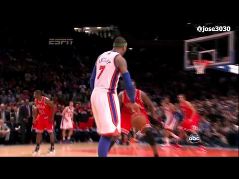 Carmelo Anthony Game Winning 3 in OT - Bulls @ Knicks 4/8/2012
