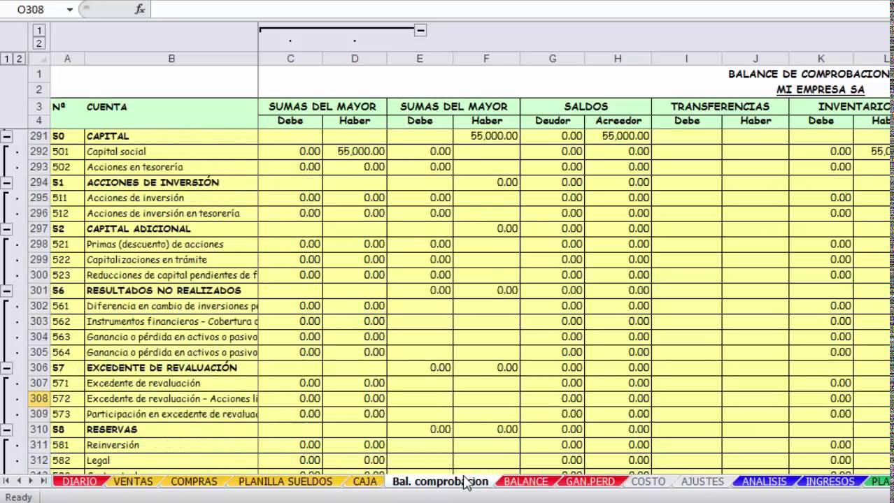 Balance General Y Estado De Resultados En Excel 2016