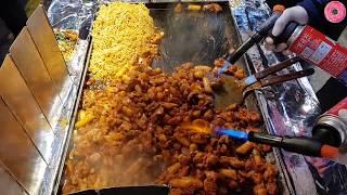 부산 깡통시장 | 철판 숯불 닭갈비&라면 | (Spicy Stir-Fried Chicken&Noodle) | 한국 길거리 음식 | Korean Street Food