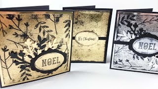 Black Ice Technique   Gold & Silver Christmas Cards   Tutorial