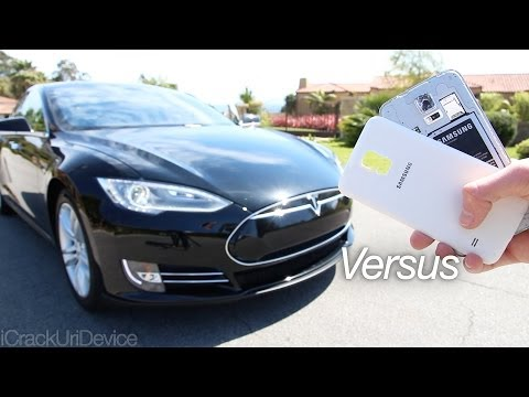 Samsung Galaxy S5 Run Over By Tesla Model S and Survives: S5 vs Tesla