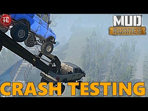 SpinTires MudRunner: Sky Platform CRASH TESTS! Truck and Trailer!!