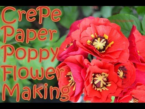 How to make Crepe Paper Poppy Flower    DIY