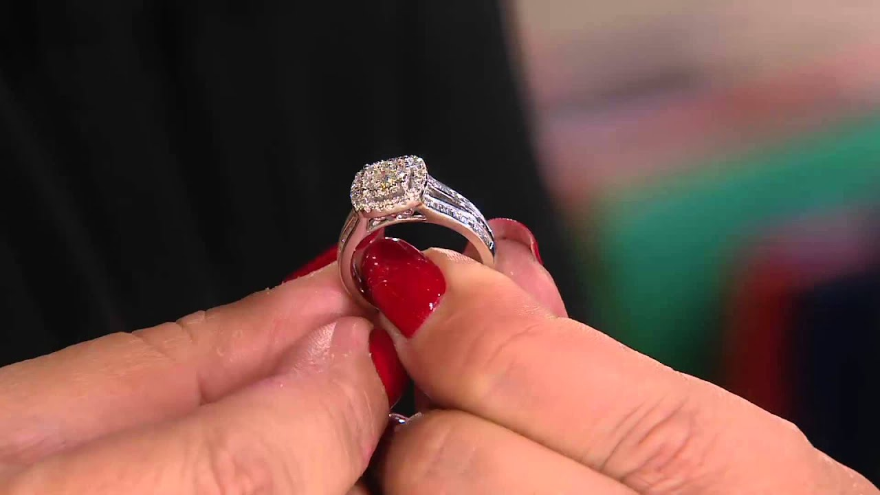 cluster design diamond rings 14k gold 1cttw by affinity on qvc youtube - Qvc Wedding Rings