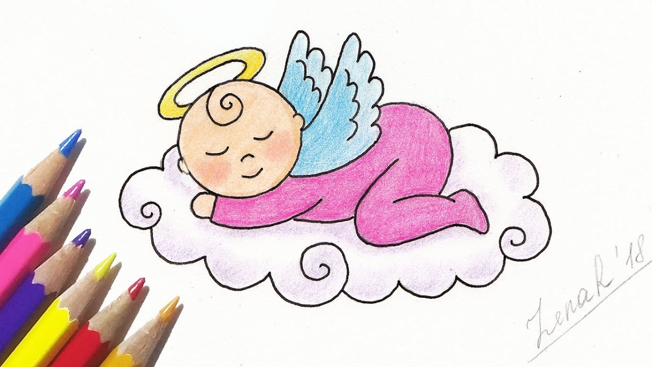 How To Draw A Cute Little Angel Baby Step By Step Easy Youtube