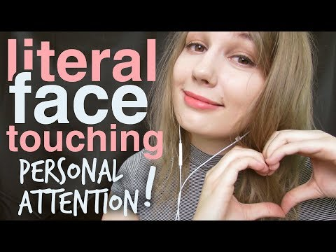ASMR Literal Face Touching, Face Tapping, Face Drawing, Face Scratching, Face Wiping & Hair Combing