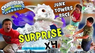 Crystal Fire Bone Hot Dog Surprise x 4! Skylanders Swap Force Junk Towers Build Race (Frito Lay)