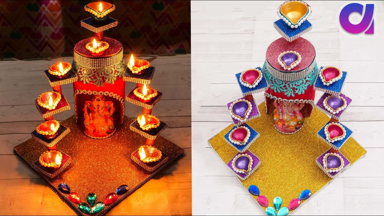 Diya stand from plastic jar/candle stand | Best out of waste | Artkala