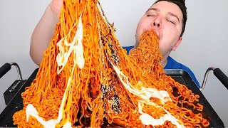 THE BEST CHEESY SPICY NUCLEAR FIRE NOODLES I'VE EVER MADE • Mukbang & Recipe