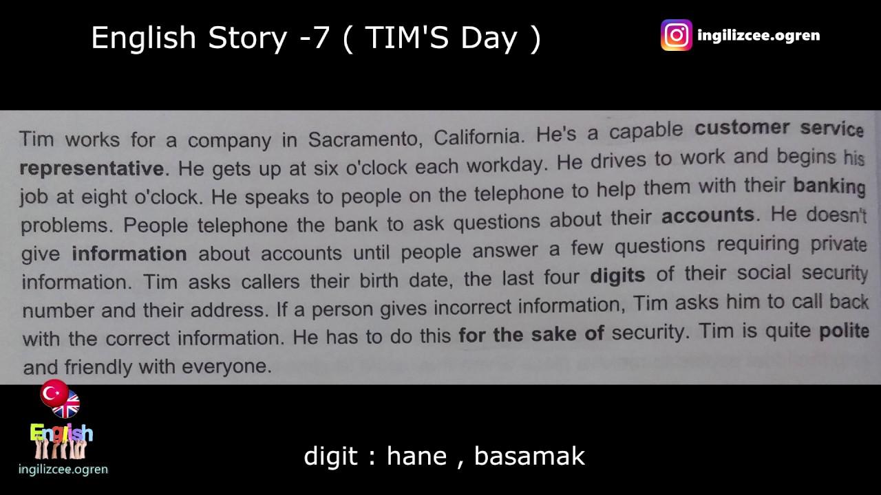 İngilizce hikaye okuyorum - TIM'S Day (7.Hikaye)
