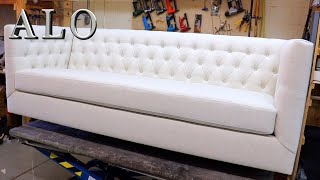 DIY- HOW TO UPHOLSTER A MODERN TUFTED STYLE SOFA FURNITURE | DIY - ALO Upholstery