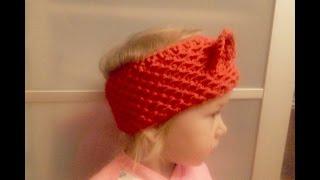 Повязка на голову спицами, повязка с ушками_Headband knitting