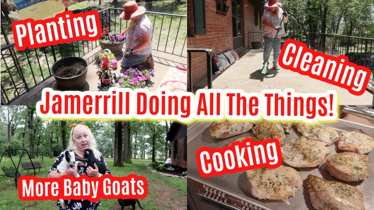 DOING ALL THE THINGS! MEGA Flower Bed Makeover, Back Porch Clean Up, Baby Goats, & Cooking!