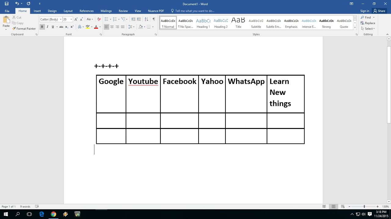Easiest way to insert create table in ms word 2016 youtube for Table design on word