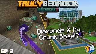 My Chunk Base Build & Diamonds! | TrulyBedrock Season 2 [#2] | Minecraft Bedrock Edition SMP Server