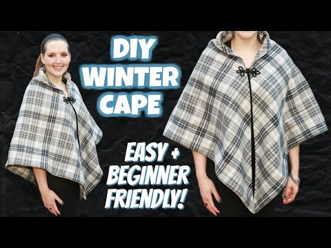 How to Make a Winter Cape Easy! | Sewing Projects for Beginners | DIY Poncho from Scratch
