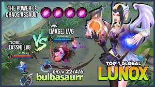 Lunox Assassins Mode with 22 Kill! bulbasaurr Top 1 Global Lunox ~ Mobile Legends