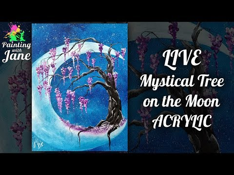 Mystical Tree on the Moon - Step by Step Acrylic Painting Tutorial