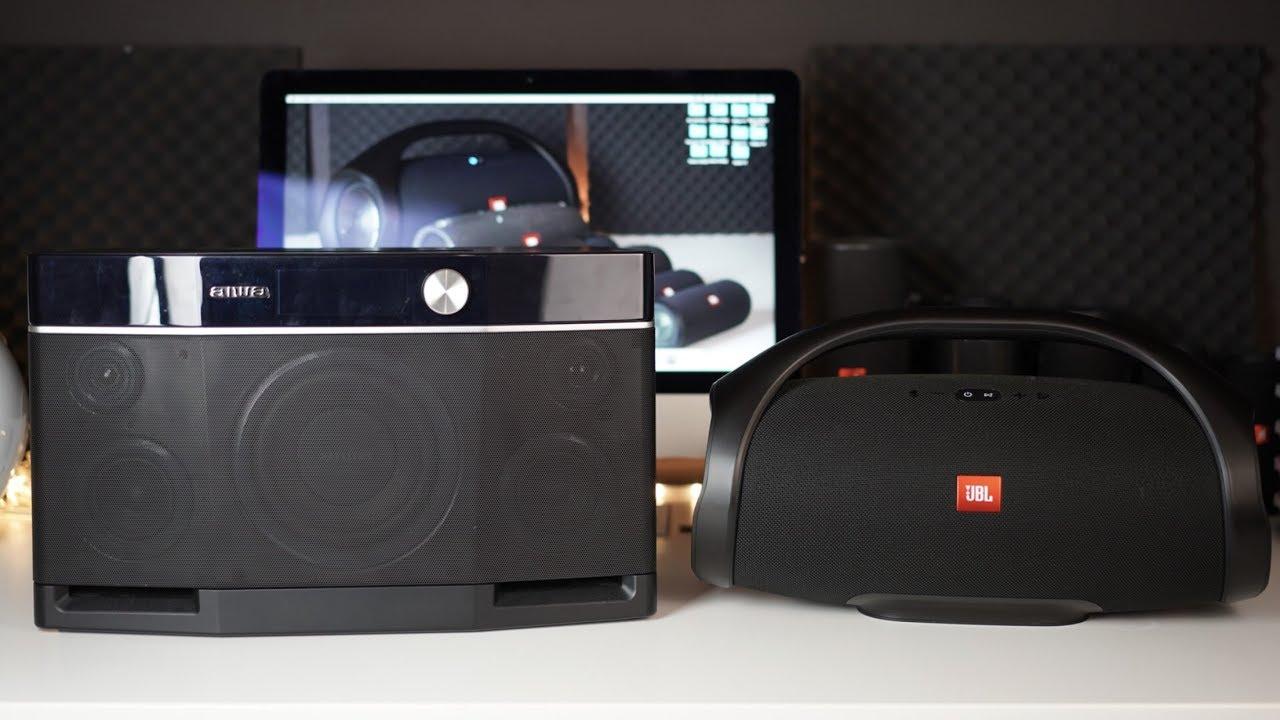 jbl boombox vs aiwa exos 9 sound comparison youtube