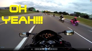 MOTORCYCLES SPEEDING THOUGH CARS ON HIGHWAY!...The warm up!!!