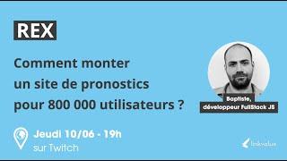 Miniature tutoriel stocké sur youtube - NodeJS I Comment monter un site de pronostics pour 800 000 utilisateurs ?