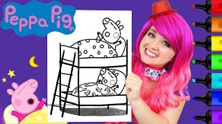 Coloring Peppa Pig & George Bedtime Coloring Page Prismacolor Paint Markers | KiMMi THE CLOWN