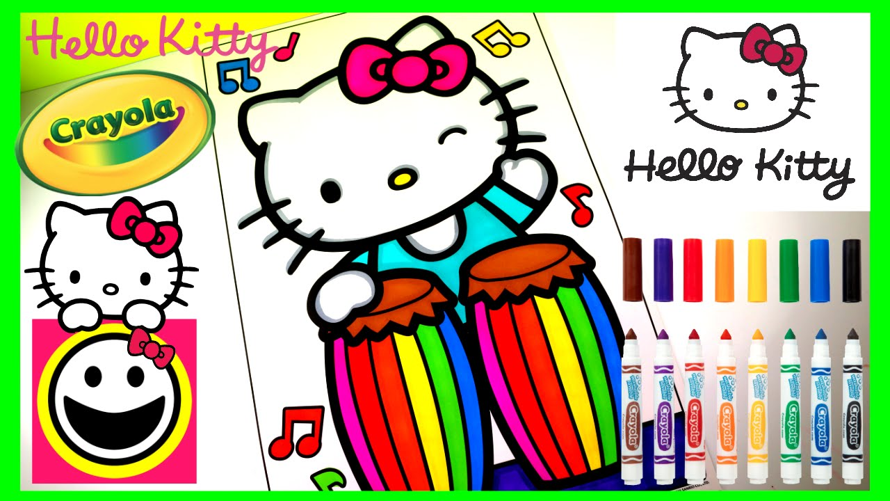 hello kitty playing the conga drums crayola coloring page crayola coloring book speed coloring