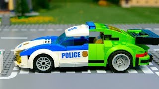 Lego Wrong and experemental police cars and truks   Brick Building Animation video for Kids