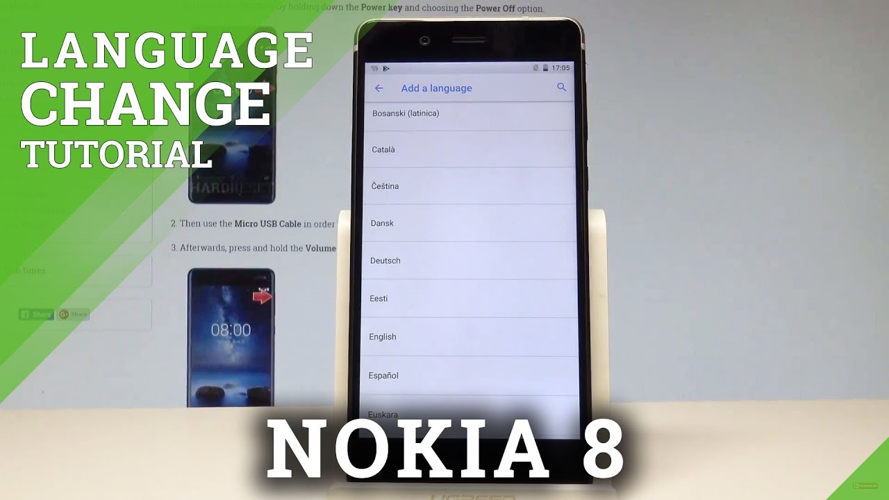 How to Change Language in NOKIA 8 - List of Languages |HardReset info