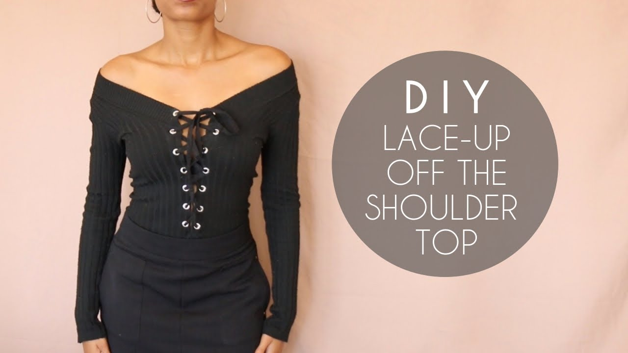 DIY Lace-Up Off the Shoulder Top (No Sewing) - YouTube a1f07f286