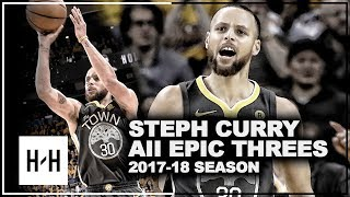 Stephen Curry ALL EPIC Threes from 2017-2018 NBA Season! A Must Watch Compilation!