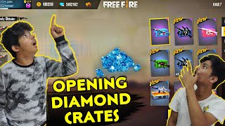 FREE FIRE DIAMONDS CRATES OPENING LIVE REACTION 😮 || SUCH A LUCKY DAY BEST TRICK? || TWOSIDEGAMERS